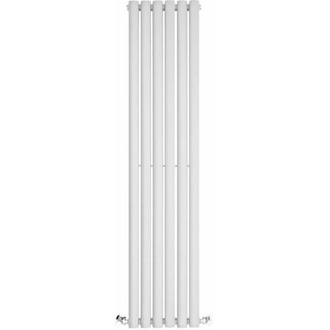 BestBathrooms Radiatore Termoarredo Singolo di Design Verticale Moderno - Termosifone con Finitura Bianco - Design a Colonna Ovale - 686W - 1400 x 354 x 56mm