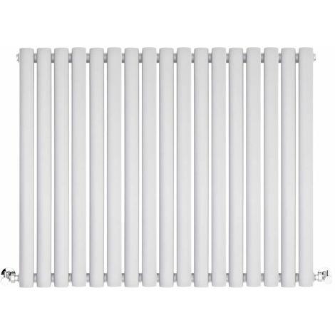 BestBathrooms White Oval Column Horizontal Designer Radiator - 600 x 1000 mm - Double Panel