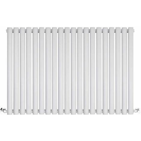 BestBathrooms White Oval Column Horizontal Designer Radiator - 600 x 1180 mm - Single Panel