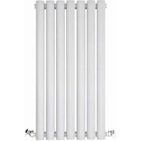 BestBathrooms White Oval Column Horizontal Designer Radiator - 600 x 415 mm - Double Panel