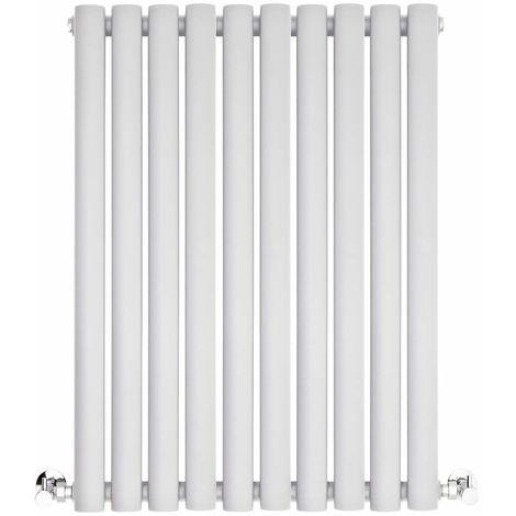 BestBathrooms White Oval Column Horizontal Designer Radiator - 600 x 595 mm - Double Panel