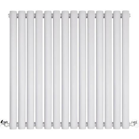 BestBathrooms White Oval Column Horizontal Designer Radiator - 600 x 834 mm - Double Panel