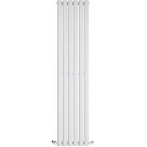 BestBathrooms White Oval Column Vertical Designer Radiator - 1400 x 354 mm - Double Panel