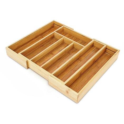 Besteckkasten aus Bambus HBT ca. 5 x 43 x 34cm Besteckeinsatz ausziehbar mit 5 bis 7 Fächern als Schubladeneinsatz und Küchenorganizer pflegeleichte Besteckeinlage für alle Schubladen, natur