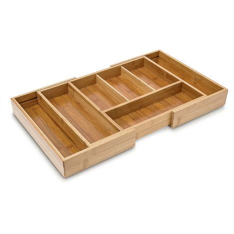 Besteckkasten ausziehbar HBT: 5 x 48,5 x 28 cm Besteckeinsatz aus Bambus mit 5 bis 7 Fächern als Küchenorganizer und Schubladeneinsatz pflegeleichte Besteckeinlage für alle Schubladen, natur