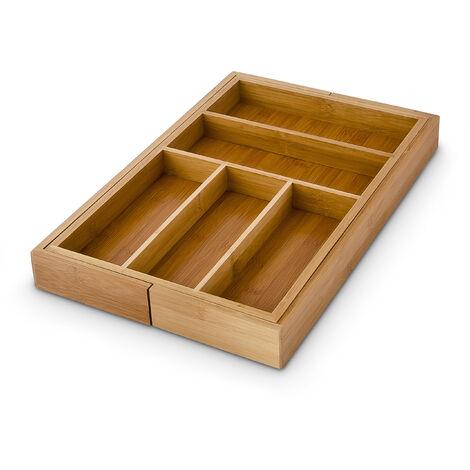 Besteckkasten verstellbar H x B x T: ca. 5 x 48 x 46 cm Schubladeneinsatz aus Bambus mit 5 bis 7 Fächern als Besteckeinsatz und Küchenorganizer große Besteckeinlage für die Schublade, natur