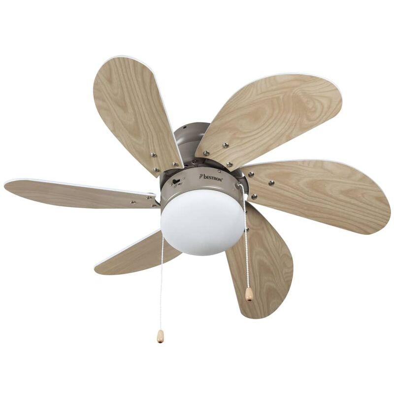 Image of Ceiling Fan 76 cm/30' 60 W Maple/White DC30T - Beige - Bestron