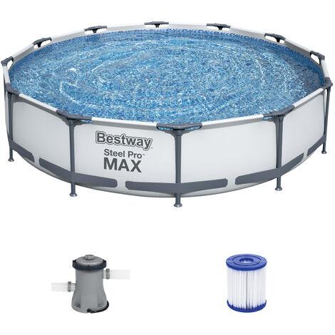 Bestwax Piscine tubulaire Steel Pro MAX 366 x 76 cm pompe et cartouche de filtration