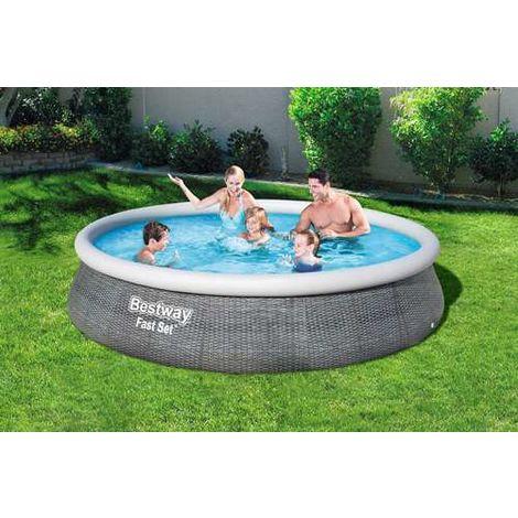 "BestWay 13' x 33"" Swimming Pool Set Round Rattan Print 57376"
