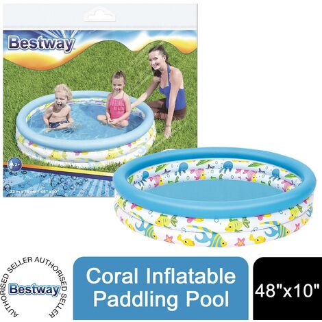 "Bestway 48"" x 10"" Coral Inflatable Ocean Life Kids Paddling Pool"