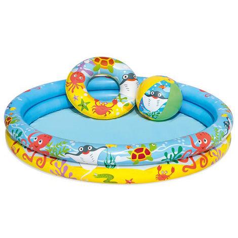 BESTWAY 51124 Planschbecken Kinder 3in1 Aufblasbarer Pool 9863