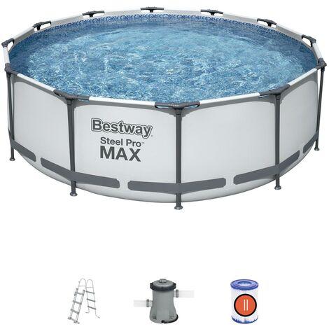Bestway 56418 Frame Pool Steel Pro Set 366x100 cm mit Filterpumpe 2.006l/h