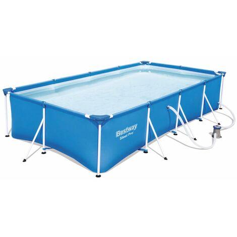 Bestway 56424 Rechteckig Aufstellpool Schwimmbad Steel Pro 400x211x81 cm