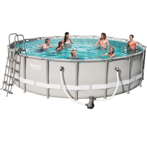 Bestway 56427 Frame Pool Set mit Filterpumpe + Leiter Fix-Aufbau 549x132cm Rund