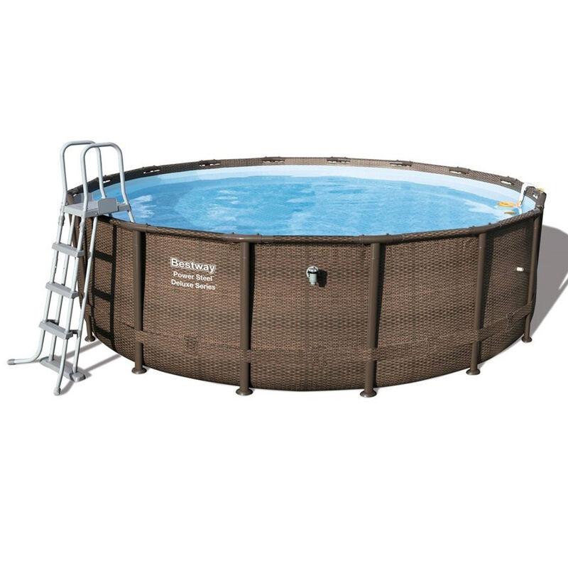 bestway 56666 power steel deluxe above ground frame pool round 488x122cm