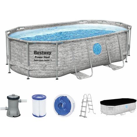 Bestway 56714 Power Steel Swim Vista Deluxe Frame Pool Komplett-Set 427x250x100 cm Rattanoptik