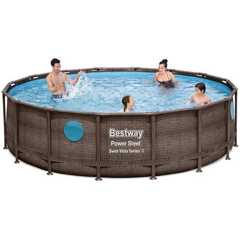 Bestway 56725 Power Steel Swim Vista oberirdischer Pool runder Rattaneffekt 488x122cm