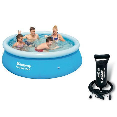 "main image of ""Bestway 8ft Fast Set Paddling Pool With Bestway 12"" Air Hammer - Inflation Pump"""