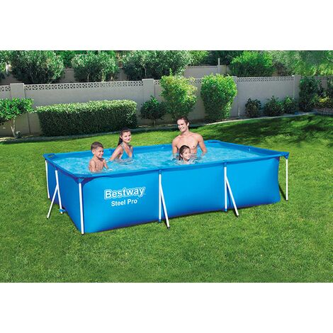 "Bestway 9ft 10"" Rectangular Above Ground Steel Pro Swimming Pool"
