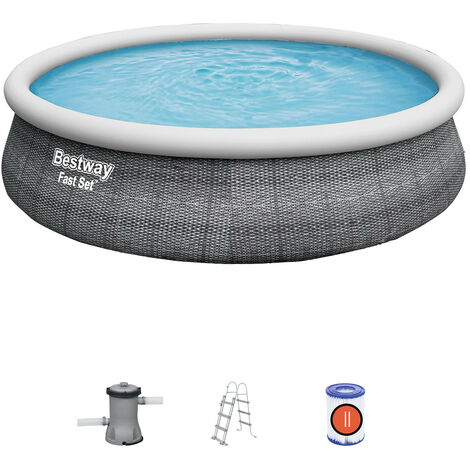 Bestway Aufblasbares Pool Fast Set Ratán 457 cm x 107 cm Mit Kartuschenreiniger 2.006 L/S Und Leiter