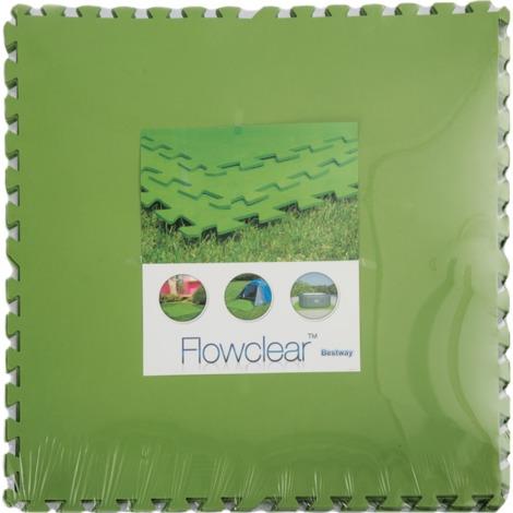 Bestway Bodenschutzfliesen-Set, 8 Stk, 81cm x 81cm, Schutzfolie, grün, Poolbodenschutz
