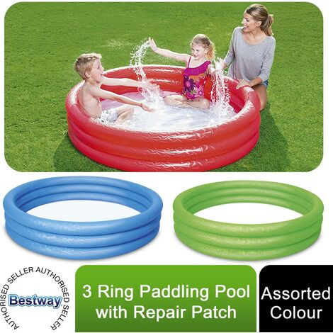 Bestway Children Paddling Pool 183cm Kids Toddler 3 Ring Inflatable Swimming Toy