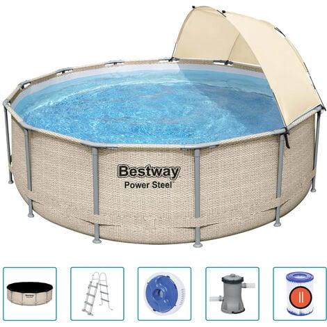 Bestway Ensemble de piscine avec auvent Power Steel 396x107 cm