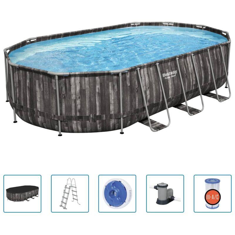 Ensemble de piscine ovale Power Steel 488x305x107 cm - Bestway