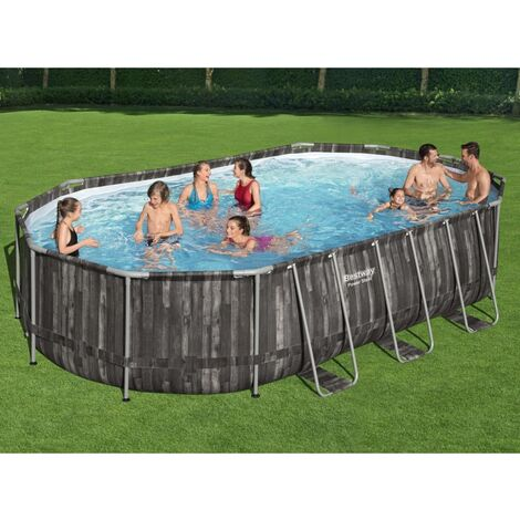 Bestway Ensemble de piscine ovale Power Steel 488x305x107 cm