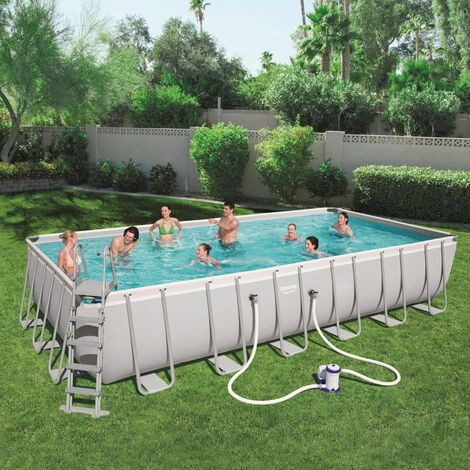 Bestway Jeu de piscine Power Steel Rectangulaire 732x366x132 cm 56474