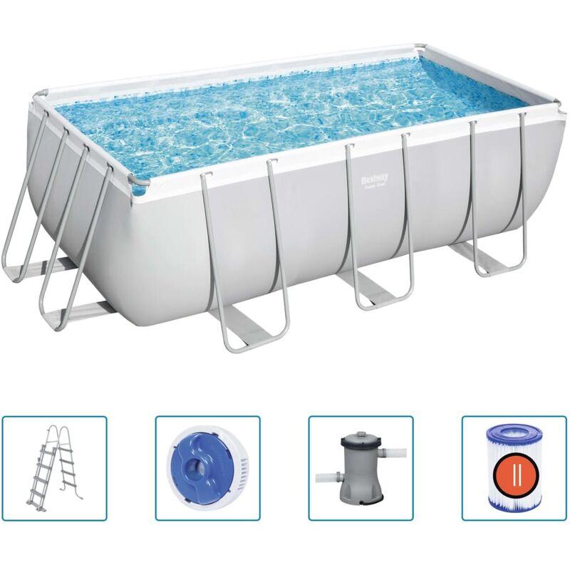 Bestway Ensemble de piscine rectangulaire Power Steel 412x201x122 cm