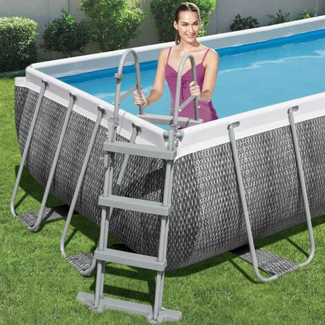 Bestway Escalera de piscina de 4 escalones Flowclear 107 cm - Gris