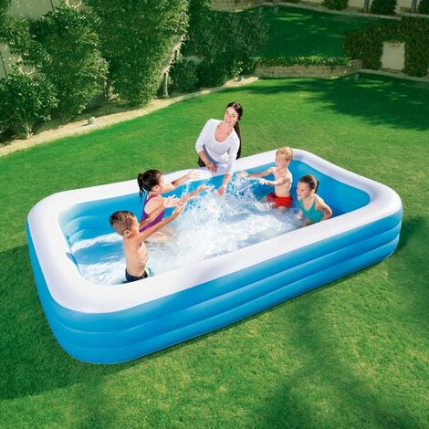 """main image of """"BESTWAY FAMILY POOL DELUXE, RECTANGULAR POOL FOR CHILDREN, EASY TO ASSEMBLE, BLUE, 305X183X56 CM"""""""