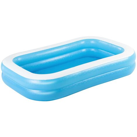 Bestway Family Rectangular Inflatable Pool 262x175x51cm Blue and White - Blue