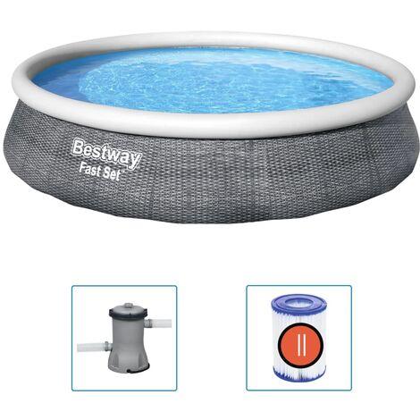 Bestway Fast Set Aufblasbares Pool-Set mit Pumpe 396x84 cm