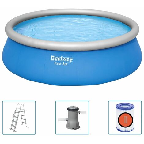Bestway Fast Set Inflatable Swimming Pool Set Round 457x122 cm - Blue