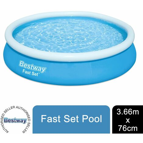 Bestway Fast Set Swimming Pool Above Ground Blue Inflatable 12ft x 30'', 5377L