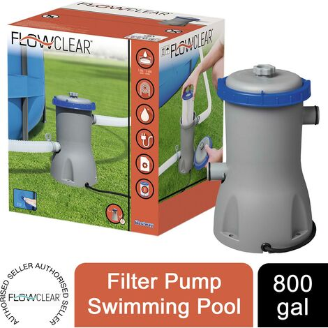 Bestway Flowclear 800gal Filter Pump Swimming Pool, Grey
