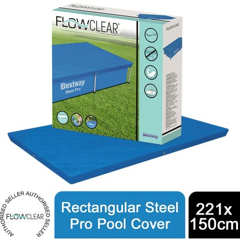 Bestway Flowclear Rectangular Steel Pro 221 X 150 cm Pool Cover, 1pk