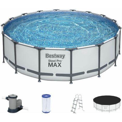 Bestway Frame Pool Steel Pro MAX Set Schwimmbecken Gartenpool Leiter Plane Pumpe