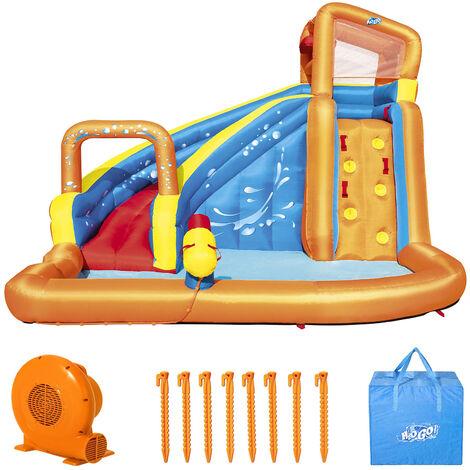 Bestway H2OGO Waterpark ! Aire de jeux gonflable • Structure gonflable aquatique • Soufflerie en continu • Toboggan - Tunnel - Pataugeoire - Mur d'escalade • 420X320x26cm