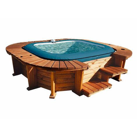 Bestway Hölzerner Whirlpool K2O Palm Beach Für 4-6 Personen Quadratisch 250 cm x 275 cm x 71 cm