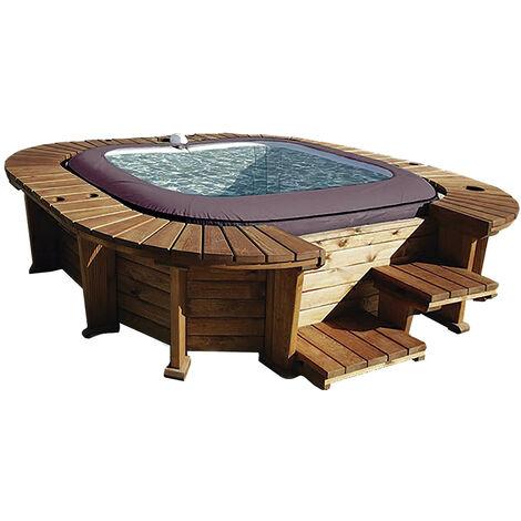 Bestway Hölzerner Whirlpool K2O Royal Beach Für 5-7 Personen Quadratisch 271 cm x 296 cm x 80 cm Mit Led-Beleuchtung