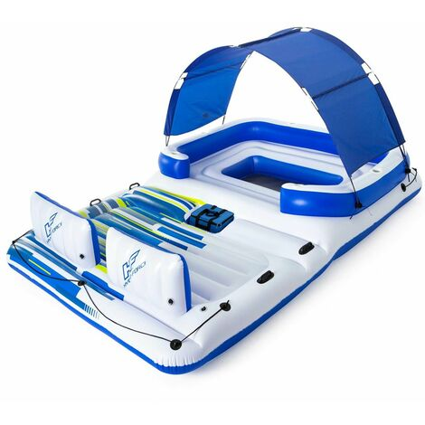 Bestway Hydro-Force colchoneta hinchable Tropical Breeze 389x274cm para 6 personas portavasos Capacidad de 540Kg piscina playa