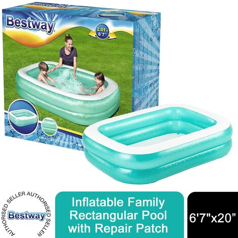 "Bestway Inflatable 6'7"" x 59"" x 20""/2.01m x 1.50m x 51cm Rectangular Family Pool"