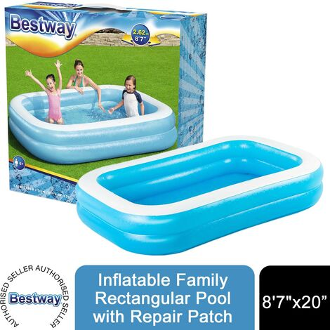 "Bestway Inflatable 8'7"" x 69"" x 20""/2.62m x 1.75m x 51cm Family Rectangular Pool"