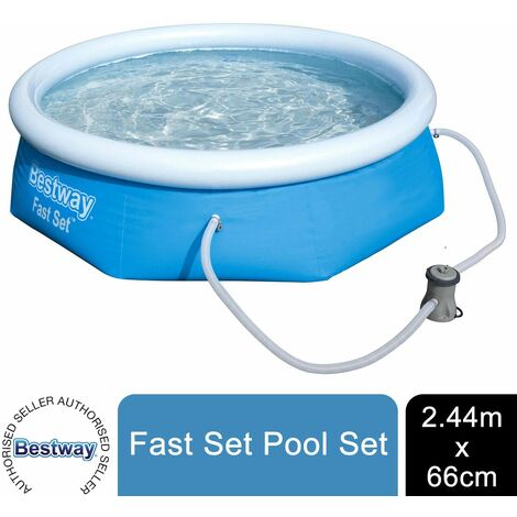 "Bestway Inflatable Family Paddling Swimming Round Pool 8ft X 26"" With Filter Pump, 2100L"