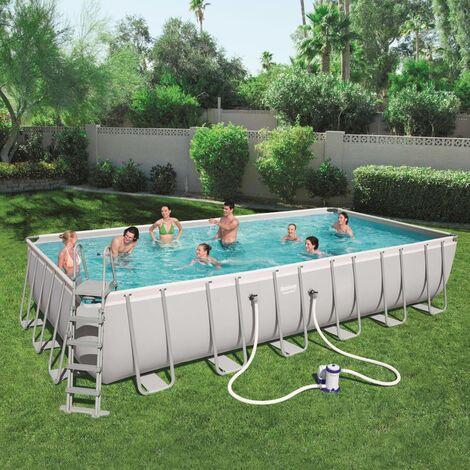 Bestway Jeu de piscine Power Steel Rectangulaire 732x366x132 cm 56474