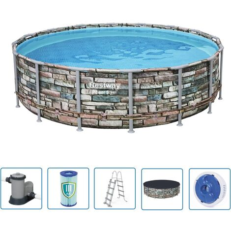 Bestway Jeu de piscine rond Power Steel 488x122 cm