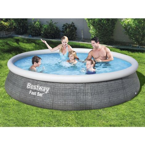 Bestway Juego de piscina inflable Fast Set con bomba 396x84 cm - Gris